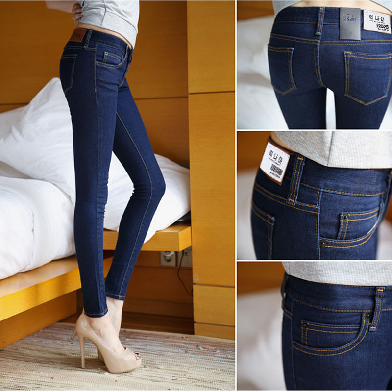 Skinny Jeans Woman Autumn New 2017 Pencil Jeans Women Fashion Sexy Slim Blue Jeans Mid Waist Women Jeans Pants American Apparel skinny jeans woman autumn new 2016