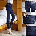 Jeans Skinny Mulher Outono Novo 2017 Lápis calças de Brim Das Mulheres Da Moda Sexy Slim calças de Ganga Meados de Cintura Das Mulheres Calças de Brim Americano vestuário