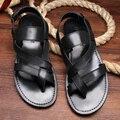 2015 Летняя Мода мужские сандалии мужские кожаные сандалии Men'slippers подлинные Кожаные сандалии обувь, черный, EU38-43