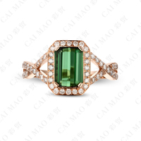 CaiMao 2.1ct Natural Pink Tourmaline & 0.41ct Diamond 18k Gold gemstone engagement ring Fine Jewelry