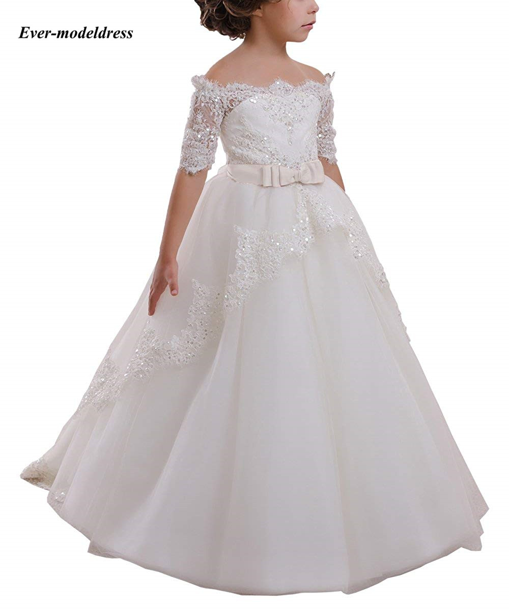 Flower     Girl     Dresses   For Wedding 2018 Half Long Sleeve Boat-Neck Little Ball Gown Appliques Pageant   Girls   First Communion Gowns