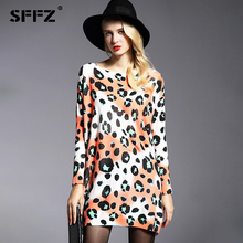 SFFZ 2018 New Autumn Winter Long Women Sweater Fashion Casual Wool Blend Sweater Dress Oversized  Leopard Knitted Pullovers 6119