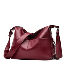 Red Women Leather High Quality Simple Handbag Shoulder Bag Sac A Main Femme Designer Lady Messenger Bags Drop Shipping 2019 C855(China)