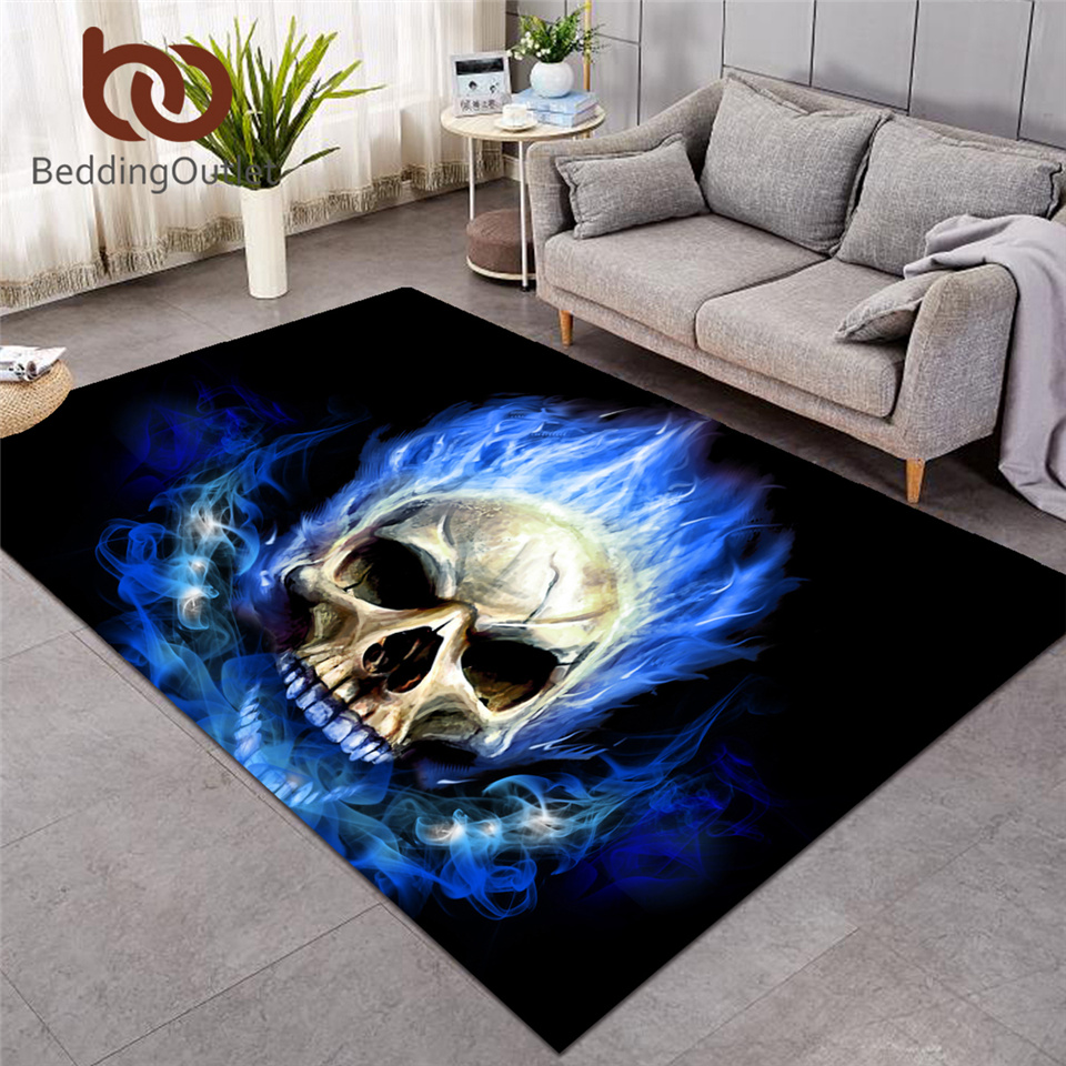 BeddingOutlet 3D Printed Area Rugs Flame Skull Gothic Rectangular Carpets Blue Fire Modern Anti-slip Decorative Floor Mat 3 Size
