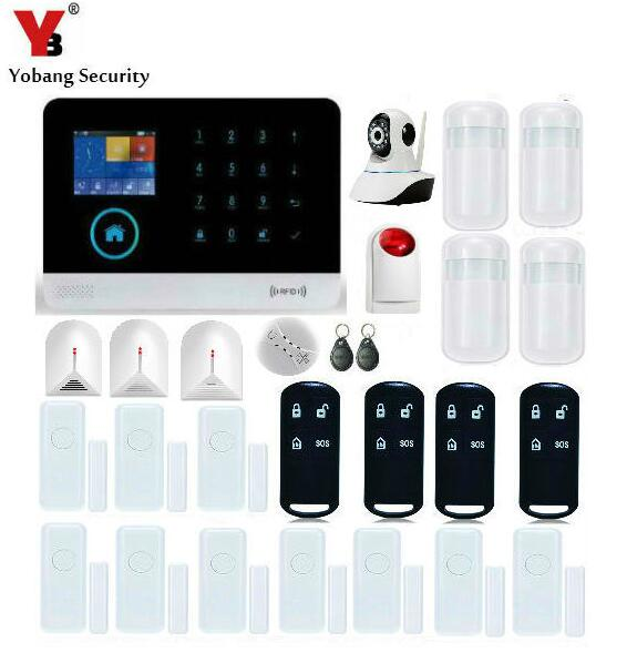 Yobang Security-APP Control WiFi Alarm System Door Gap Sensor Glass Break Sensor GSM Alarmes With HD Network Camera Surveillance yobang security app smarts alarm system camera surveillance wireless door window magnetic sensor wifi gsm home security kits
