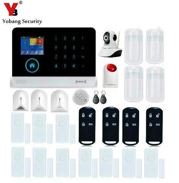 Yobang système dalarme WiFi contrôle de sécurité APP | Capteur despacement de porte, capteur de rupture de verre, Alarmes GSM avec caméra réseau HD