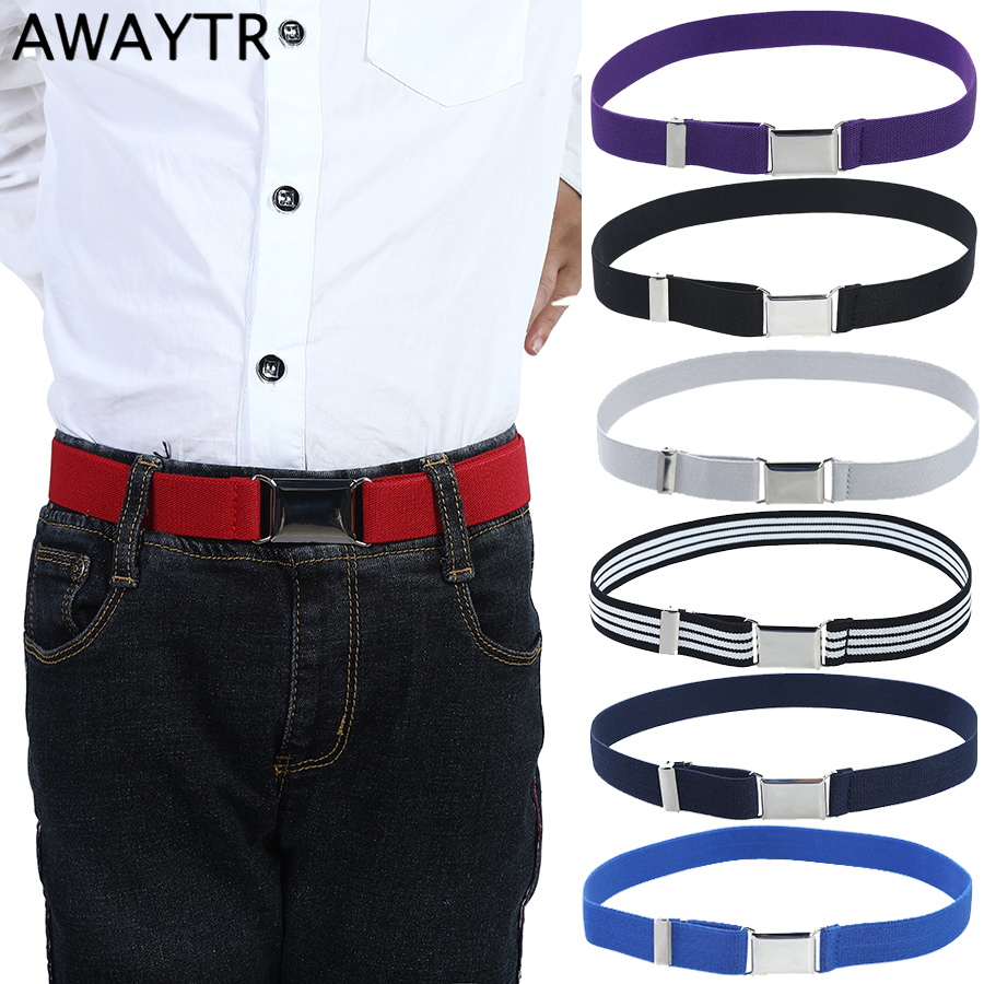 Awaytr Fashion Canvas Belt For Boys Kids Alloy Buckle Belt For Men Adjustable Elastic Children's Belts 11 Colors 77*2.5cm