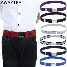 Awaytr Fashion Canvas Belt For Boys Kids Alloy Buckle for Men Adjustable Elastic Childrens Belts 11 Colors 77*2.5cm