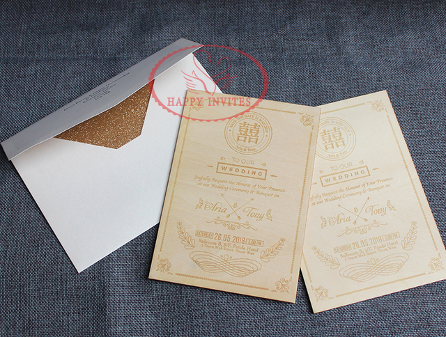free shipping hi4019 customized wooden invitation with glitter