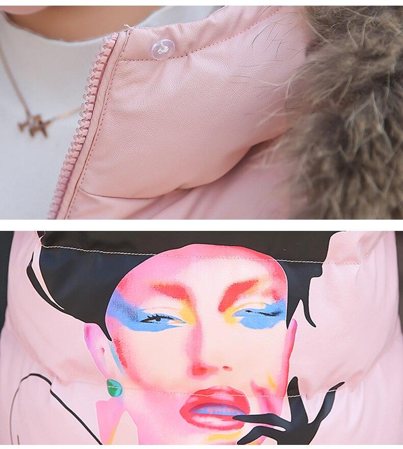 Col Cuir Impression Haute Femmes Manteau pink Coton Chaud De H716 Capuchon En Parkas Nouvelle Red Qualité Hiver black Grand beige À Veste Fourrure YwSYzFq