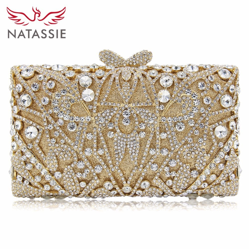 NATASSIE Crystal Clutches Evening Bags Luxury Women Clutch Female Wedding Bag Party Purse colourful bird women evening luxury bags crystal clutches laides evening bag female party hard case bags wedding clutch purses