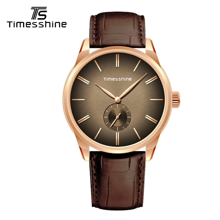 Timesshine watch me Quartz creative watches Fashion Male Wristwatch Leather Watchband Business Watches Diving Golden Case Watch
