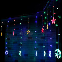 In Stock Ice Led String Strip Light Moon Stars 138leds 250CM Length Fairy Lights Christmas
