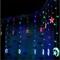 En stock Glace Guirlande Led bande lumière Lune étoiles 138 led 250 CM Longueur Fée Lumières De Noël Fenêtre Rideaux Partie Décor de mariage