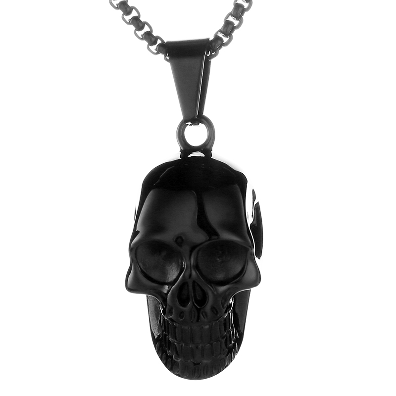 EdgLifU New Skull Pendentif Collier Biker Moto Enthusiast Noir Punk - Bijoux fantaisie - Photo 3