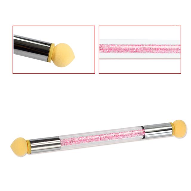 1Sets Glitter Powder Picking Dotting Gradient Pen Brush + 6 Sponge Nail Art Tools Double-ended UV Gel