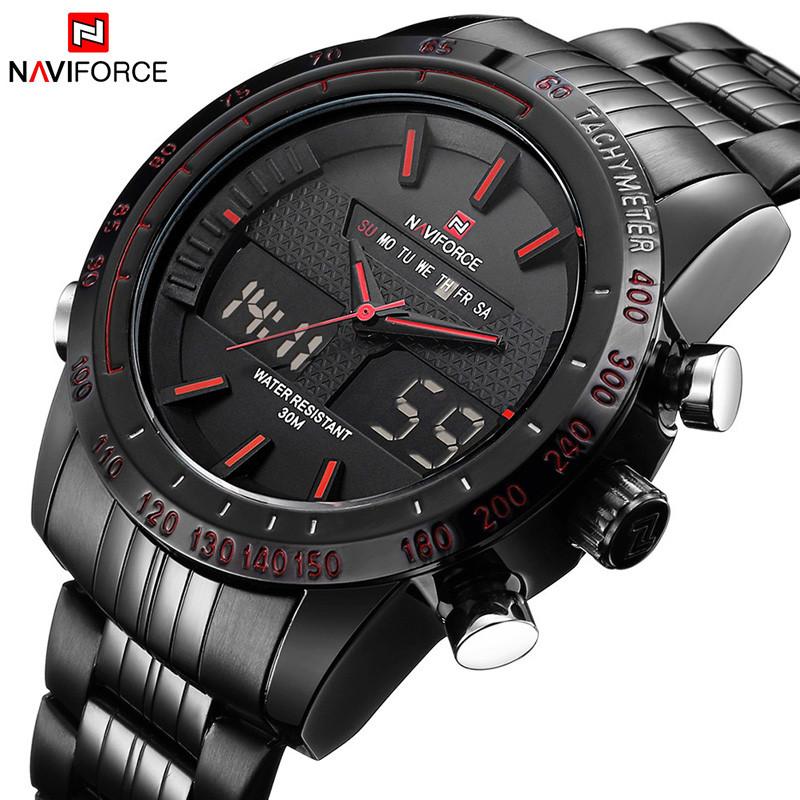 Prix pour 2017 Naviforce Hommes Montres Top Marque De Luxe Numérique LED Montre noir Plein Acier Quartz Hommes Montre-Bracelet Militaire Sport Homme horloge