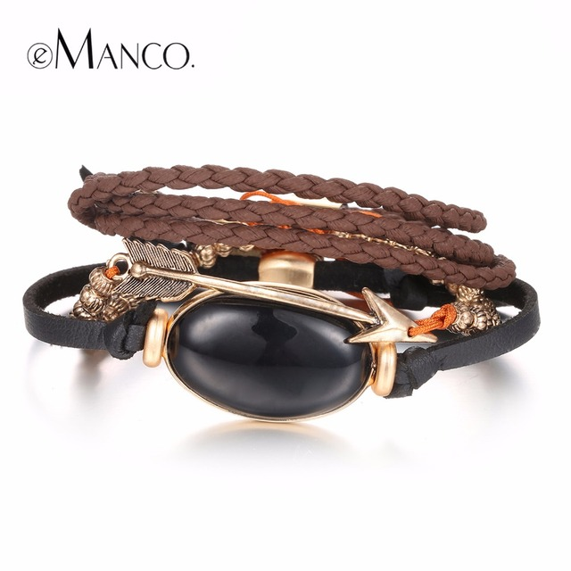 eManco  Multilayer Trendy Bracelets & Bangles  Leather Rope Arrows Beaded Semi-precious Stones Accessories Jewelry
