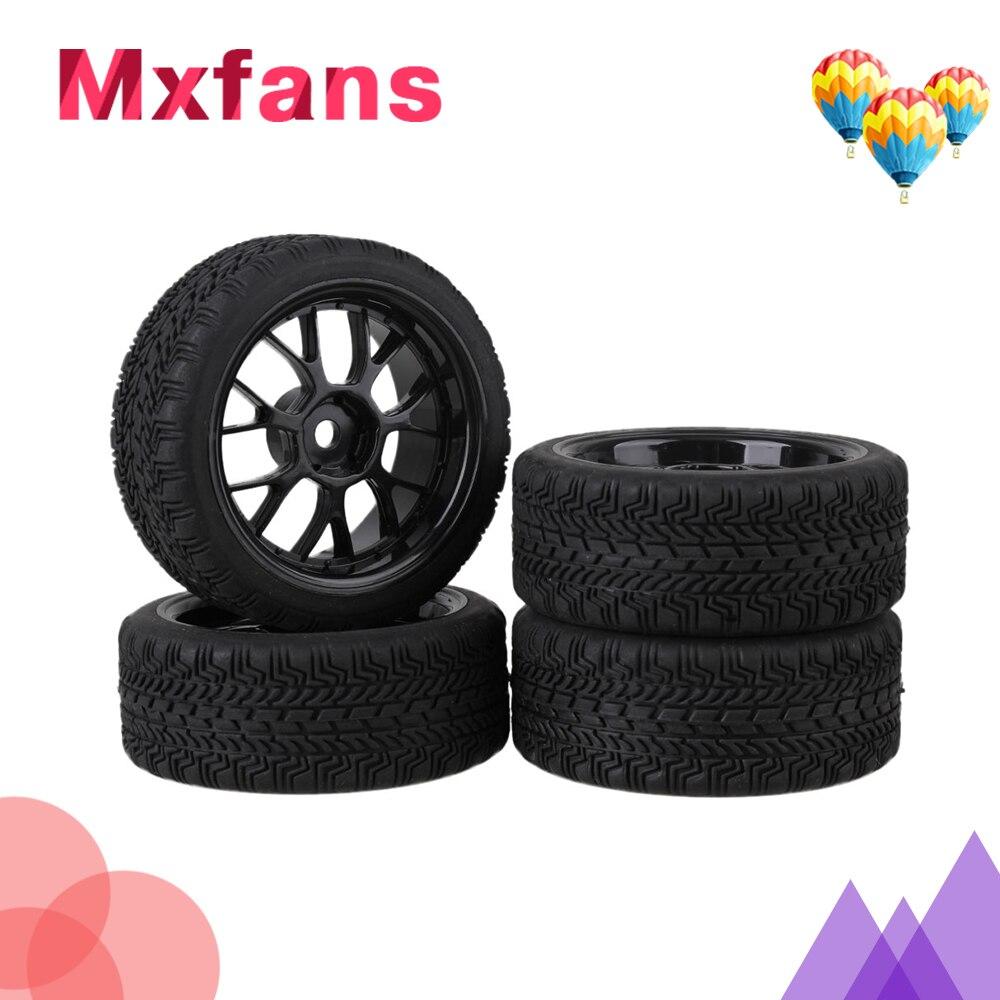 Mxfans 4 x RC1:10 On Road Car High Grip Rubber Tyre & Black Plastic Y Type Wheel Rim mxfans 4 x rc1 10 rock crawler black alloy 7 spoke wheel rim simulation rubber tyre