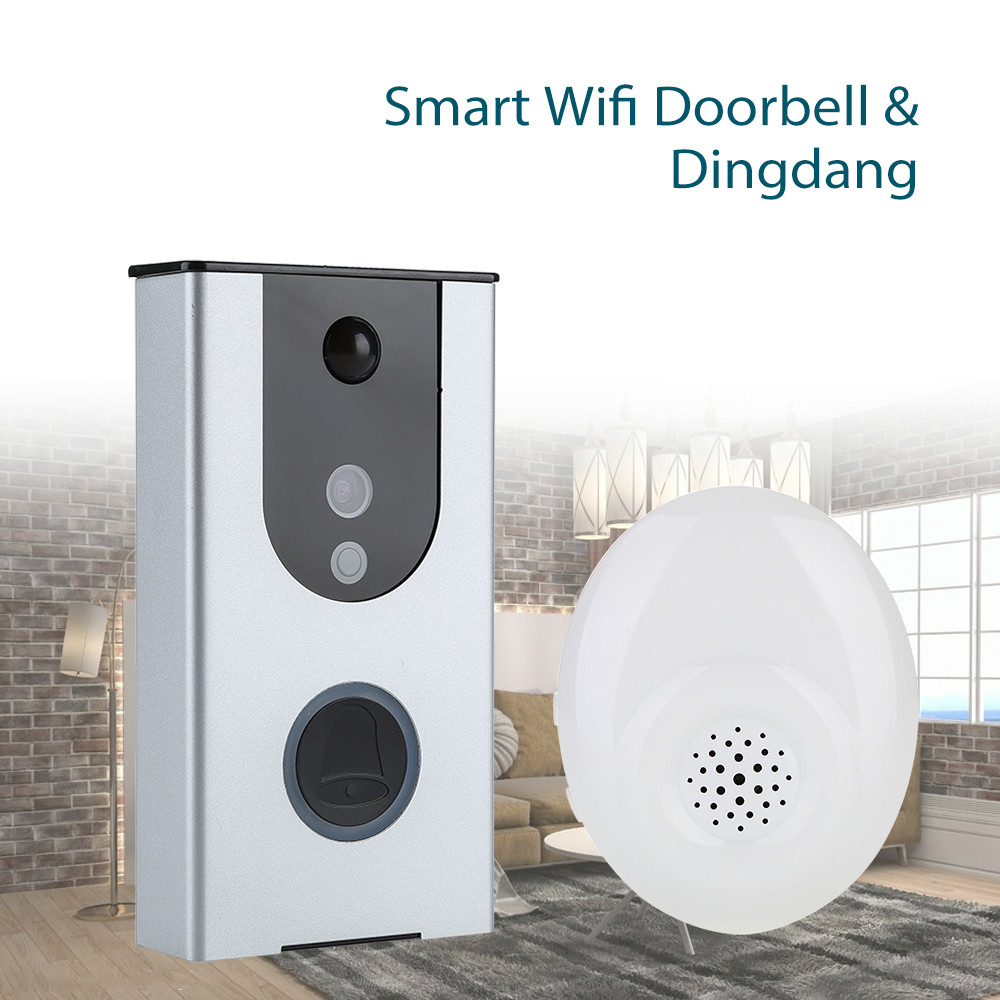 WiFi Smart Wireless DoorBell Visual Camera Door Ring Monitor+Dingdang For Home Security 8GB Card Free 2 Ways Power Supply