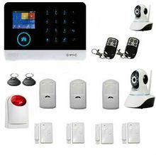 Inalámbrica 2.4G WiFi GSM Ladrón del Hogar de Seguridad de Alarma Contra Incendios Sistema de DIY Kit de Cámara IP de Marcación Automática Con la Sirena de Flash Inalámbrico Sensor de Puerta