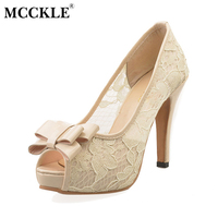 MCCKLE Female Bowtie Peep Toe Lace Sexy Fashion High Heels Ladies Party Plus Size Sandals 2017