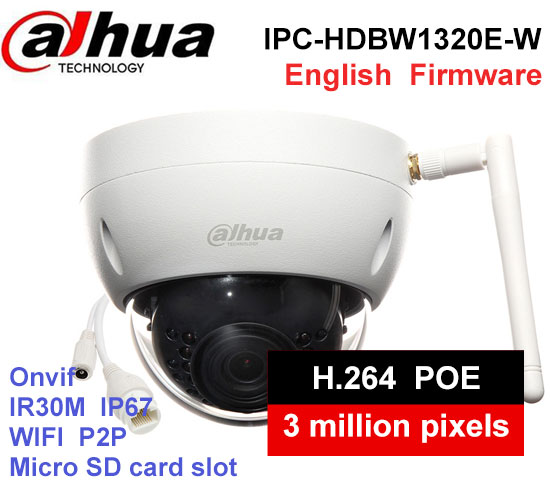 Dahua IPC-HDBW1320E-W 3MP IR30M IP67 built-in WIFI SD Card slot Network outdoor WIFI Camera DH-IPC-HDBW1320E-W IP Camera dahua original 8ch 3mp h2 64 dh ipc hdbw1320e 8pcs dome cctv ip network camera poe dahua dhi nvr5208 4ks2 security camera kit
