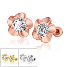 14K Rose Gold Fashion Circle Zircon Diamond Inlaid Flower Earrings for Women 925 Sterling Silver Fine Jewelry multi color