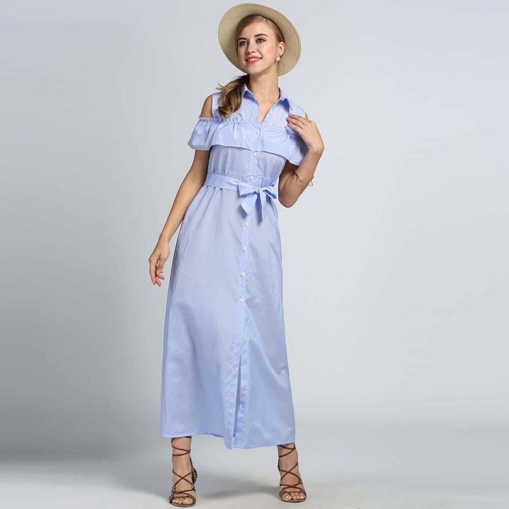 Women Off Shoulder Ruffles Striped Button Down Maxi Long Shirt Dress ... 5efe5179a7