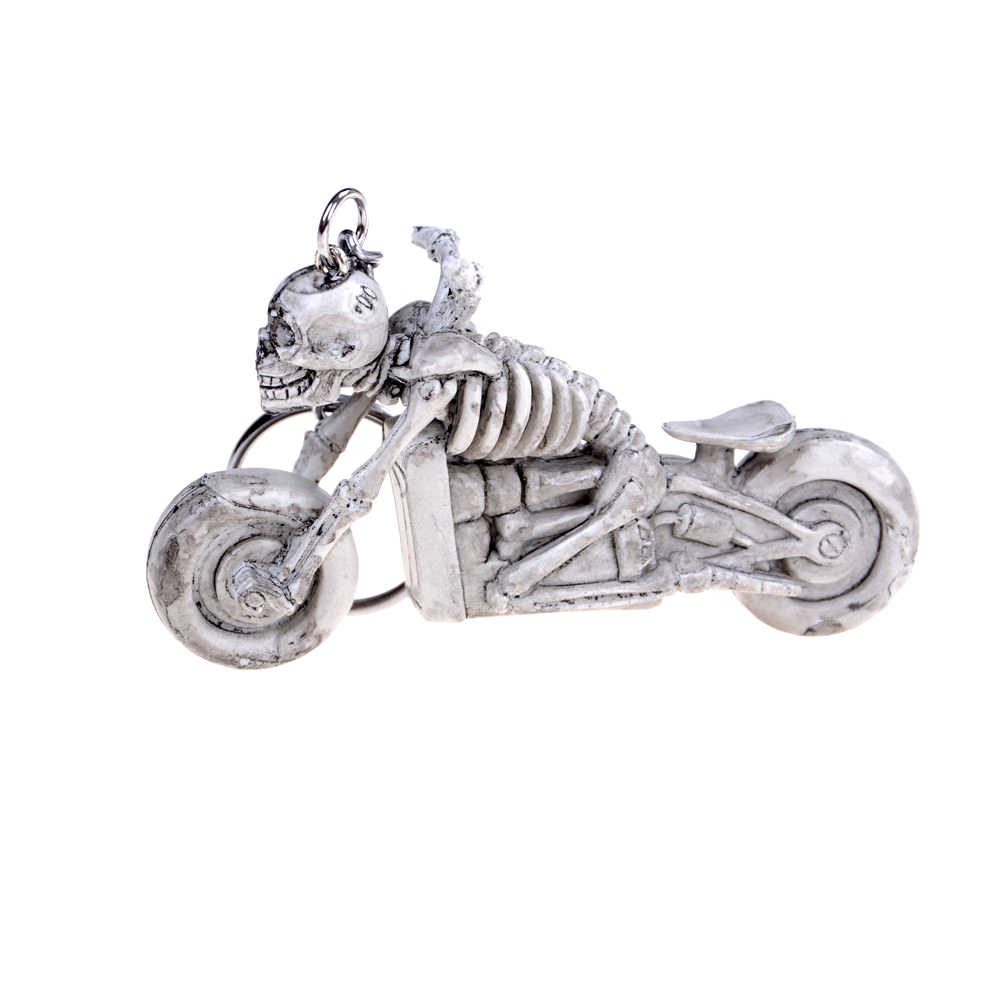 New skull motorcycle toy Gift Skull Keychain Vintage Rubber Devil Death Monster Pirate Trinket Motor Car Toy