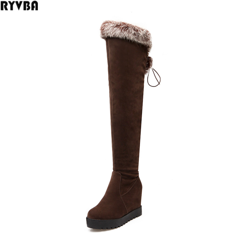 RYVBA woman over the knee snow boots fashion nubuck thigh high boots winter boots women womens female Height Increasing shoes