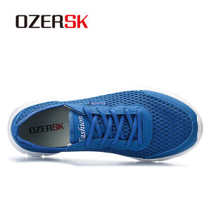 Image 2 - OZERSK الرجال أحذية رياضية الصيف حذاء كاجوال تنفس الرجال شبكة خارجية أحذية الرجال الدانتيل يصل أحذية خفيفة البحرية السوداء حجم كبير 39 48