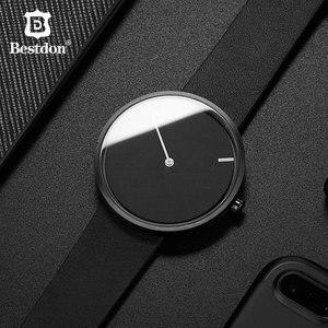 Bestdon, reloj con diseño de lunares rojos sin puntero para hombre, relojes sencillos Unisex, relojes minimalistas únicos Tiktok, concepto de agujeros para estudiantes 2019