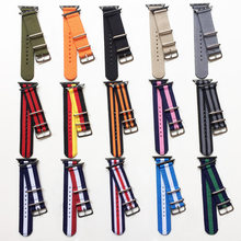 Nato Nylon Watchband for iWatch 4 3 2 1 for Apple Watch Band 38mm 40mm Watch Strap 42mm 44mm Rainbow Wrist Bracelet(China)
