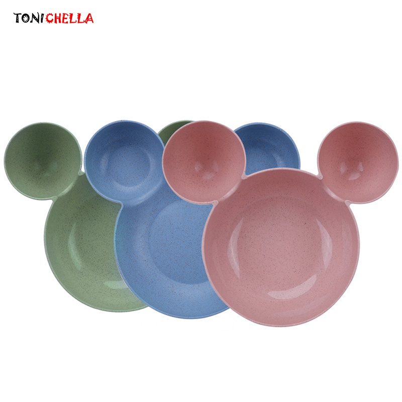 Baby Cute Mouse Bowl Wheat Straw Colorful Cartoon Plate Children Solid Color Feeding Dishes Dot Training Tableware T0387