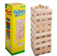 Wooden Brain Teaser Block Intelligence Digital Tall Building Blocks 54PCS Kids Toy