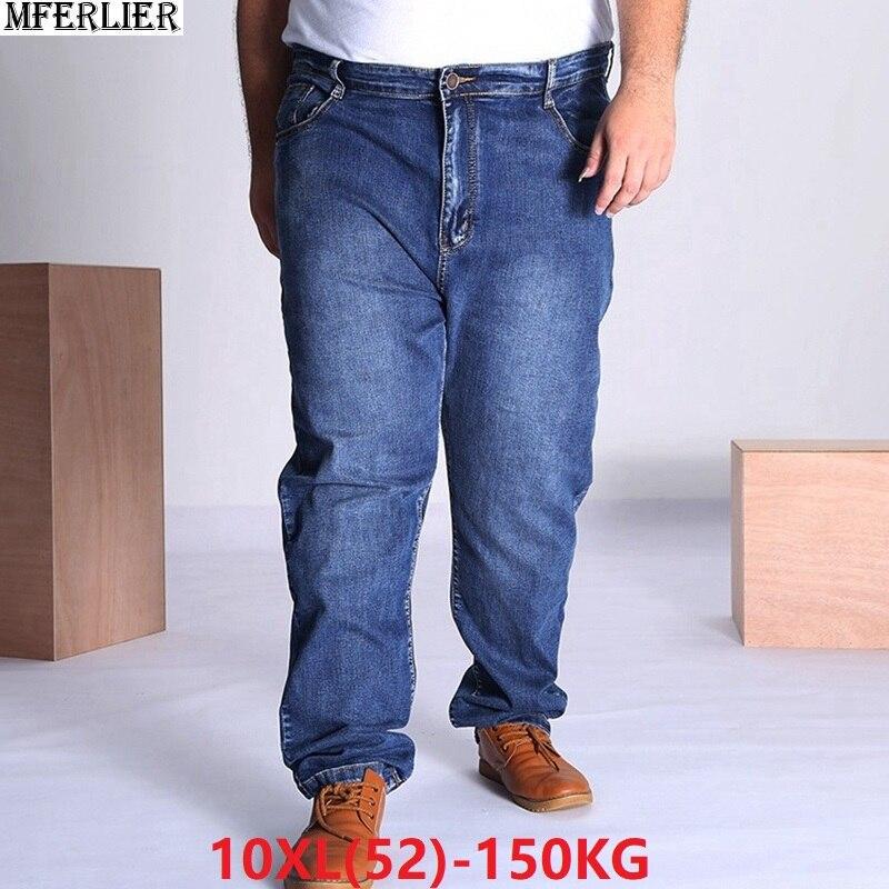Winter Black Jeans Mens Plus Big Size 9XL 10XL Pants Large Jeans 48 50 52 Elasticity 8XL High Waist Work Pants For Men 150KG