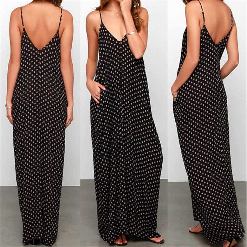 Verão chiffon vestido polka dot boho longo maxi festa de férias à noite praia vestido de verão preto com decote em v vestidos plus size w3