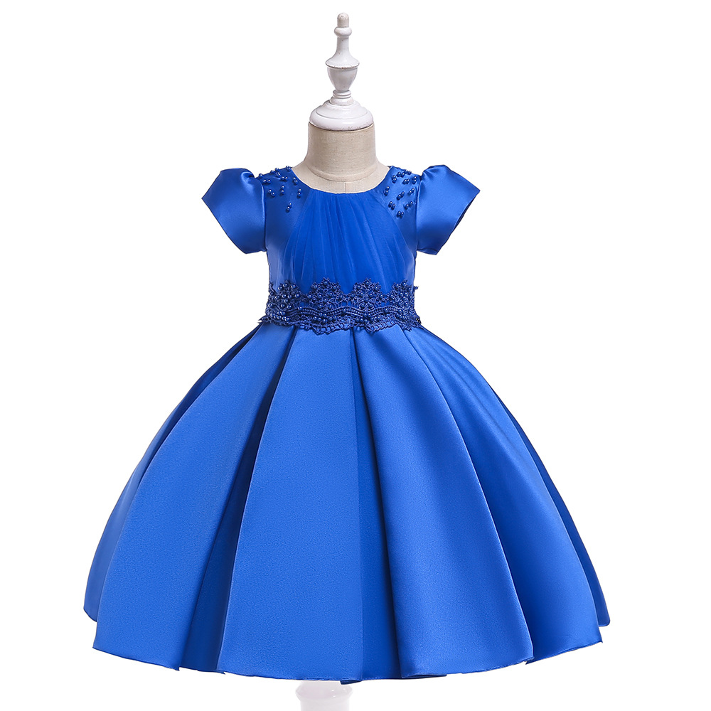 Ballgown Royal Blue   Flower     Girl     Dresses   with Pearls First Communion   dresses   2019 Princess Formal Party Gowns
