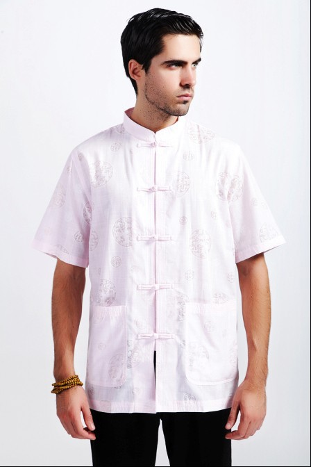 Fashion New Summer Pink Tradition Chinese Men's Cotton Linen Kung-Fu Shirt with Pocket M L XL XXL XXXL M25