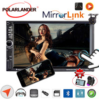 7 inch Car Radio Mirror Link Screen 2 DIN With Map Bluetooth MP5 Video Player+Rear Camera HD GPS Navigation Mirror For Android