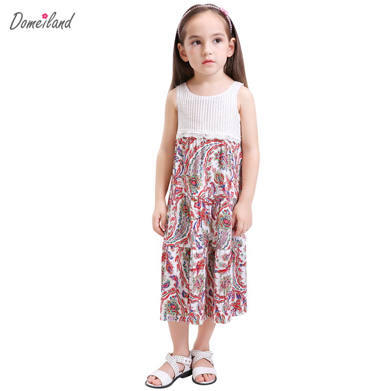 2017 summer children clothing for brand domeiland kids girls print sleeveless cotton Princess Floral party dress clothes new girls dress brand summer clothes ice cream print costumes sleeveless kids clothing cute children vest dress princess dress