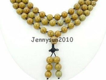 Natural Wood Grain Ja-sper 10mm Gems Stone Buddhist 108 Beads Prayer Mala Knot Necklace Multi-Purpose 5Strands/Pack