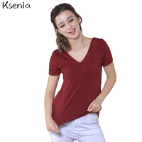 Ksenia 2017 Women T Shirt Cotton Crisscross V Neck Solid Summer Tops Fashion Tee Shirt Sexy