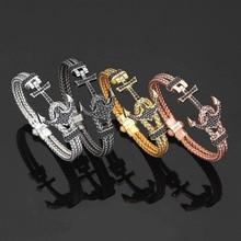 Br-01 ATOLYESTONE18K White Gold Anchor Cuff Bracelets & Bangles Men Stainless St