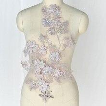 1 Piece Beautiful Flowers Patch Lace Applique Wedding Dress Decoration Badge Embroidery DIY 3 Kinds Sizes