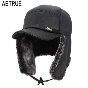 AETRUE Bomber Hats For Men Women Winter Hat Men Thick Faux Leather Fur Earflap Warm Baseball Caps Mask Male Winter Bomber Hat