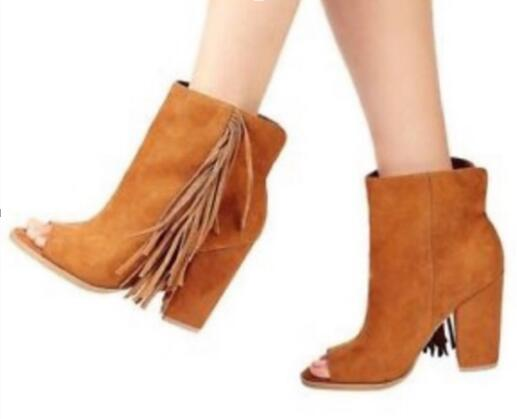 Fashion Brown Suede Leather Women Peep Toe Ankle Boots Elegant Fringe Side Ladies Chunky Heel Boots Spring Hot High Heel Boots цена
