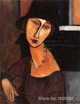 Modern painting abstract Jeanne Hebuterne with Hat and Necklace by Amedeo Modigliani High quality Hand painted image