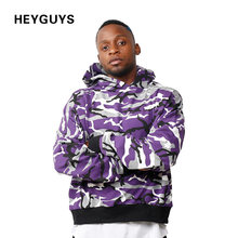 HEYGUYS Autumn spring camouflage hoodie men high street wear pullover Men men Hip Hop Street wear wear Clothing fleece clothes(China)